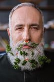 Starszy mężczyzna z zieleniami w brodzie fotografia stock
