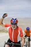Starszy Męski cyklista Świętuje Jego zwycięstwo Obrazy Royalty Free