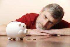 Starszy mężczyzna patrzeje prosiątko banka Zdjęcia Royalty Free