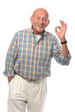 Starszy mężczyzna pokazywać STARSZY znaka Fotografia Royalty Free