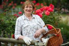 Starszy ogrodniczka kosz obraz royalty free