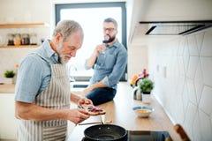 Starszy ojciec indoors i w kuchni w domu, gotuj?cy zdjęcie royalty free