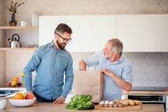 Starszy ojciec indoors w domu i, odpakowywaj?cy zakupy fotografia stock