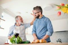 Starszy ojciec indoors w domu i, przygotowywający jedzenie obrazy royalty free