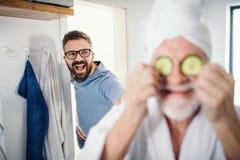 Starszy ojciec w ?azience indoors w domu i, mie? zabaw? zdjęcie royalty free