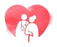 Starszy opieka zdrowotna logo Karmi?cego domu znaka sylwetka na akwareli tle Cyfrowej sztuki obraz royalty ilustracja