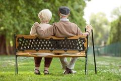 Starszy pary obsiadanie na drewnianej ławce w parku Zdjęcia Stock