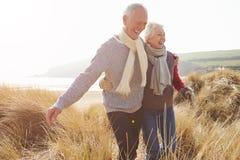 Starszy pary odprowadzenie Przez piasek diun Na zimy plaży fotografia stock