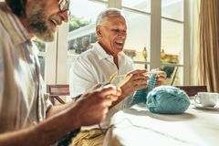 Starszy przyjaciele cieszy się dziać w domu obrazy royalty free