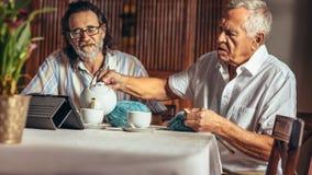 Starszy przyjaciele relaksuje w domu mieć herbaty podczas gdy dziający fotografia royalty free
