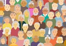 Starszy różnorodności kreskówki płaskiego projekta wektorowego ilustracyjnego tła ludzie ilustracji