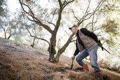 Starszy rolnik przy lasem zdjęcia stock