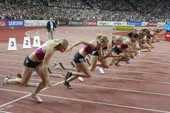 Start of the 100m Women Stock Photography