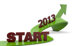 Start 2013. Arrow and start 2013 text Royalty Free Stock Images