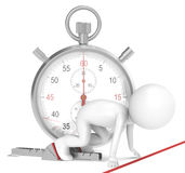 Start. 3D little human character The Athlete on the start line. Stopwatch. People series Stock Photography