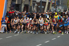 START - 23.BELGRADE TIME FORCE MARATHON 2010. BELGRADE � APRIL 18: A group of runners in start 23nd Belgrade Marathon. Maiyo Johnstone Kibet (KEN) finished Royalty Free Stock Photo