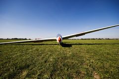 Before the start. Front view of a glider on grass airfield Stock Image