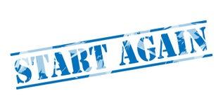 Start again blue stamp. On white background Stock Photos