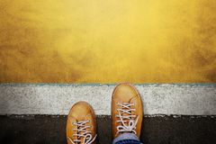 Free Start And Challenge Concept. A Man On Casual Leather Shoes Steps Into The Start Line, Get Ready To Moving Forward Or Take A Chance Royalty Free Stock Photography - 160222217