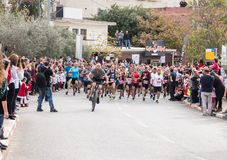 Start of the annual race `Cristmas Run` in Mi`ilya in Israel Stock Photos