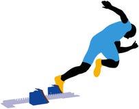 Start athlete men sprinter runner. From starting blocks vector illustration