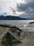 Start av en storm över sjöGenève i Swtzerland royaltyfri fotografi