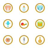 Start of baby life icon set, cartoon style. Start of baby life icon set. Cartoon set of 9 start of baby life vector icons for web isolated on white background Royalty Free Stock Photos