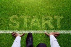 Start background, Top view of Businessman on Start line in socce. R grass field, Business Challenge or do something new Stock Photography