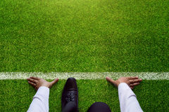 Start background, Top view of Businessman on Start line in soccer grass field, Business Challenge or do something new royalty free stock images