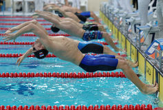 Start of backstroke swimming during Salnikov Cup Stock Images