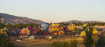 Start Of Balloon Race. The balloon race is off at the world`s largest balloon race Stock Photo