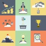 Start bedrijfspictogramconcept, vlak ontwerp stock illustratie