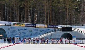 Start of Biathlon Women's 13.5 km Mega Mass start at  Internati Stock Photography