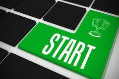 Start on black keyboard with green key Royalty Free Stock Photo