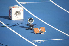 Start block of sprinters Stock Photo