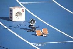 Start block of sprinters Stock Photo