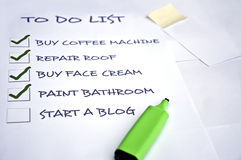 Start a blog. To do list with start a blog Royalty Free Stock Photography