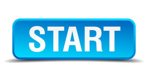 Start blue square isolated button Royalty Free Stock Images