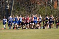 Start of a Boys High School Cross Country Meet Stock Photos
