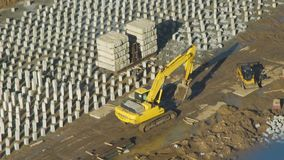 Excavator Working on the Construction Plant stock footage