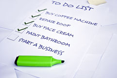 Start a business. To do list with start a business unchecked Stock Photo