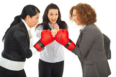 Start business competition. Referee executive woman give start to business women competition with boxing gloves isolated on white background Royalty Free Stock Images