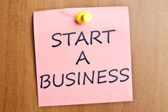 Start a business post it Stock Images
