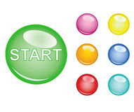 Start button. Multi colored Start button Vector EPS Stock Photography