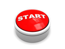 Start button. 3d illustration of red button with 'start' caption over white background Stock Photo