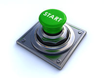 Start button. High quality 3d render of a start button isolated over a white background Royalty Free Stock Photos