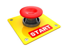 Start button. 3d illustration of big red button with 'start' caption Stock Image