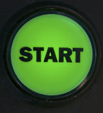 START button. Close up photo of start button, black text on green Royalty Free Stock Photography