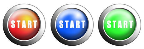 Start button. Buttons start red, blue and green push press Stock Photo