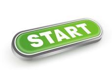 Start Button. Metallic green start push button Stock Images